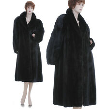 LKNW! XL! Black Beauty! Real Female Canadian Black Mink Fur Swing Coat