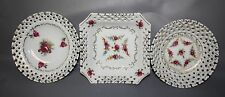Victorian Viceroy China Tidbit Round Square & Bowl 3 One Price Gold Pink Flowers