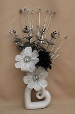 ARTIFICIAL SILK SILVER GLITTER & BLACK FLOWER, LEAF SPRAY IN WHITE HEART VASE