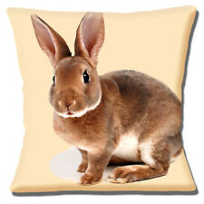 "Cute Brown Pet Bunny Rabbit Photo Print on Cream 16"" Pillow Cushion Cover"