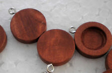 10pcs x 12mm Antique Wooden Wood Cameo Base Setting / Tray Pendant