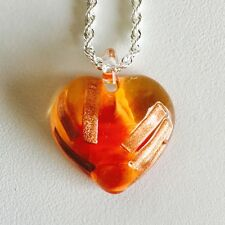 Antica Murrina Cuore Beverly--Murano Glass Heart Pendant+Silver Plated Chain