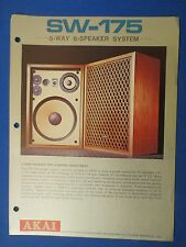 AKAI SW-175 SPEAKERS SALES BROCHURE ORIGINAL FACTORY ISSUE THE REAL THING