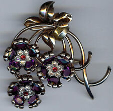PENNINO VINTAGE GOLD WASH STERLING RHINESTONE FACETED PURPLE GLASS FLOWERS PIN