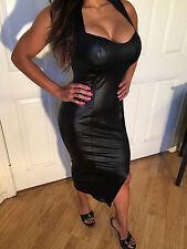 SEXY Black Stretch Faux Leather Mid calf  Party Dress w/ open back cut out  M/L