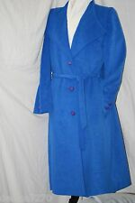 Vintage London Look 70s Skin Gear Bright Blue Trench Coat Ultrasuede Washable