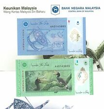 Malaysia Polymer 1 & 5 Ringgit 2011 Matching number Pair AA in folder - UNC