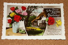 Vintage Postcard: My Sister on her Birthday, Cottage Scene, Rose Bouquet
