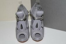 New sz 6 / 36 Alexander McQueen Grey Leather T strap Platform Sandal Pump Shoes