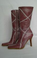 BP Womens Sundance Pink Leather Calf High Side Zip Boots Heels Size 5 Nordstrom