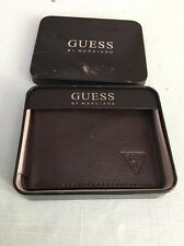 GUESS BY MARCIANO MENS LEATHER PASSCASE WALLET (BROWN) NEW