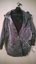 New NWT Atlantic Beach Coat Jacket Size Medium Metalic Silver Puffer Faux Fur