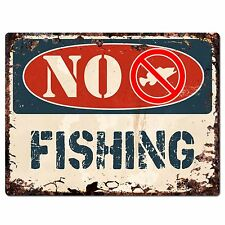 PP1369 NO FISHING Plate Rustic Chic Sign Home Store Shop Decor Gift
