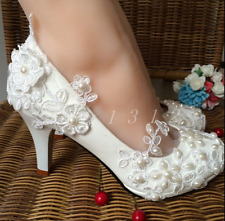 US 8 Womens Pearls Block Heel Flower Decor Wedding Bridal Lace Shoes 5cm heel