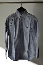 Thom Browne Grossgrain Placket Blue Oxford Long Sleeve Shirt Size 2
