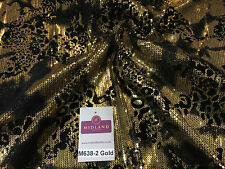 "Metallic Flocked Jersey one way stretch sequin dress fabric 55"" wide M638 Mtex"