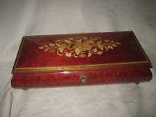"""Sorrento Italian Marquetry 11"""" Musical Jewelry Box Reuge 4726 18 Note Movement"""