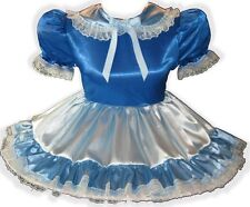 """Cynthia"" Custom Fit Blue Satin Adult LG Baby Sissy Dress LEANNE"