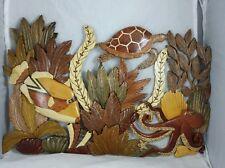 XL Hawaiian C5-Coral Reef Octopus Honu Turtle Handcrafted Wood Art Wall Hanging