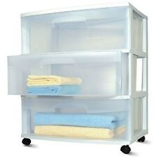 3 Drawer Wide Cart Rolling Storage White, Sterilite