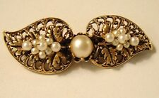 VINTAGE BROOCH UNSIGNED MIRIAM HASKELL FILIGREE LACY LEAVES FAUX PEARL CLUSTERS