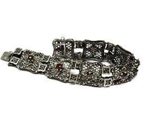 Antikes Silberarmband mit kleinen Granaten in filigr. Design (800er) 3G8421