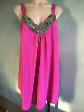 BNWT Womens Sz 18/20 Autograph Brand Hot Pink Bead Detail Cami Top RRP $60