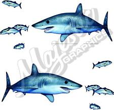 MAKO SHARKS (Chasing School) x 2 - Mirrored Pair 420mm x 230mm - BOAT CAR DECALS