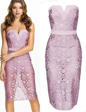 NEW STUNNING LILAC FLORAL LACE BANDEAU LEOTARD TOP MIDI DRESS SIZE 12 14 UK