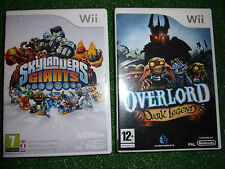 2x NINTENDO Wii GAMES OVERLORD DARK LEGEND + SKYLANDERS GIANTS THE GAME