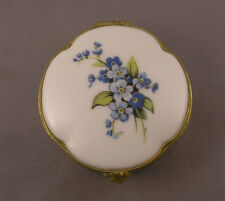 Older Limoges Castel French Porcelain Metal Hinged Box with Blue Forget Me Nots