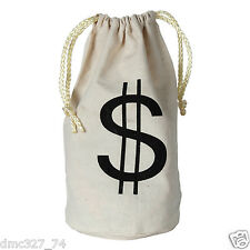 1 Party Favor Prop Accessory Wild West Casino Pirate Gangster $ MONEY BAG Sack
