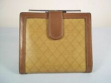 Vintage Givenchy Brown Leather Trimmed Wallet w/ Kiss Lock Coin Purse