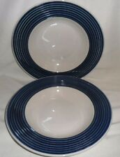 Gibson China Soup / Salad Rim Bowls Living Circles with Blue Groove (2)