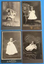 *Original LOT of 4 BABIES CHILDREN ON ORNATE WICKER CHAIRS 1890's Cabinet Photo