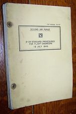 1944 WWII AAF B-29 SUPER FORTRESS BOMBER FLIGHT ENGINEER MANUAL 2ND AIR FORCE
