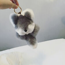 Auth Cute Rabbit Fur Wolf Plush Keychain Toy Stuffed Keyring Bag pendant