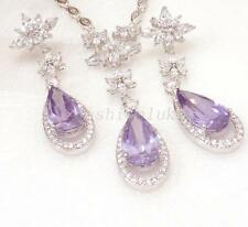 Bridal New Necklace Earrings Set White Gold Plated Lilac Purple Cubic Zirconia