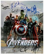 THE AVENGERS AUTOGRAPHED CAST 8x10 RPT PHOTO BY 9 ROBERT DOWNEY JR  STAN LEE