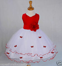 WHITE BUTTERFLIES PAGEANT WEDDING FLOWER GIRL DRESS 6M 12M 2 3T 4 5T 6 8 10