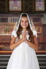 Girls First Communion Mantilla Style Lace Veil with Embroidered Chalice, 25 Inch