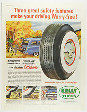Vintage 1950's KELLY SPRINGFIELD TIRES Automobile Large Magazine Print Ad