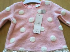 BNWT BABY GIRLS THICK PINK AND WHITE SPOT LACED HEM TOP LOVELY WARM 12-18m