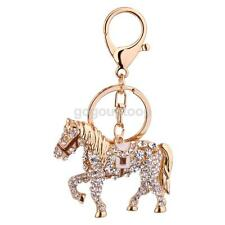 Creative Crystal Rhinestone Horse Charms Pendant Key Ring Chain Key Holder
