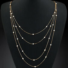 Women's Elegant Multi Layers Long Chain Beads Charm Necklace Fashion Jewelry