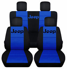 Front &Rear Black-DrBlue Jeep Seat Covers Pawprint 2Door Jeep Wrangler 2011-2016