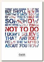 OASIS - Wonderwall 2 - song lyric poster typography art print - 4 sizes