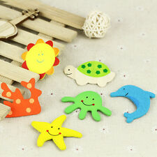 12Pcs Baby Wooden Fridge Magnet Cartoon Animal Early Educational Kids Toys CA