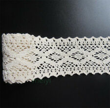 1M Vintage Ivory Cream Cotton Crochet Lace Edge Trim Ribbon DIY Sewing Craft 7cm