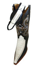 MENS WESTERN COWBOY GENUINE LEATHER/ CROCODILE  PRINT  BOOTS/ FREE BELT